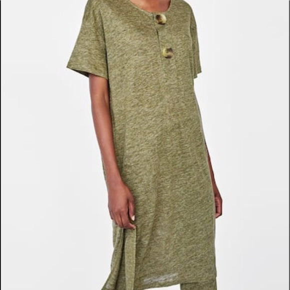 481bbf9dec Zara linen tunic with big buttons in green